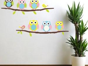 Stickers muraux 6 hiboux sur une branche d'arbre - Déco chambre enfant