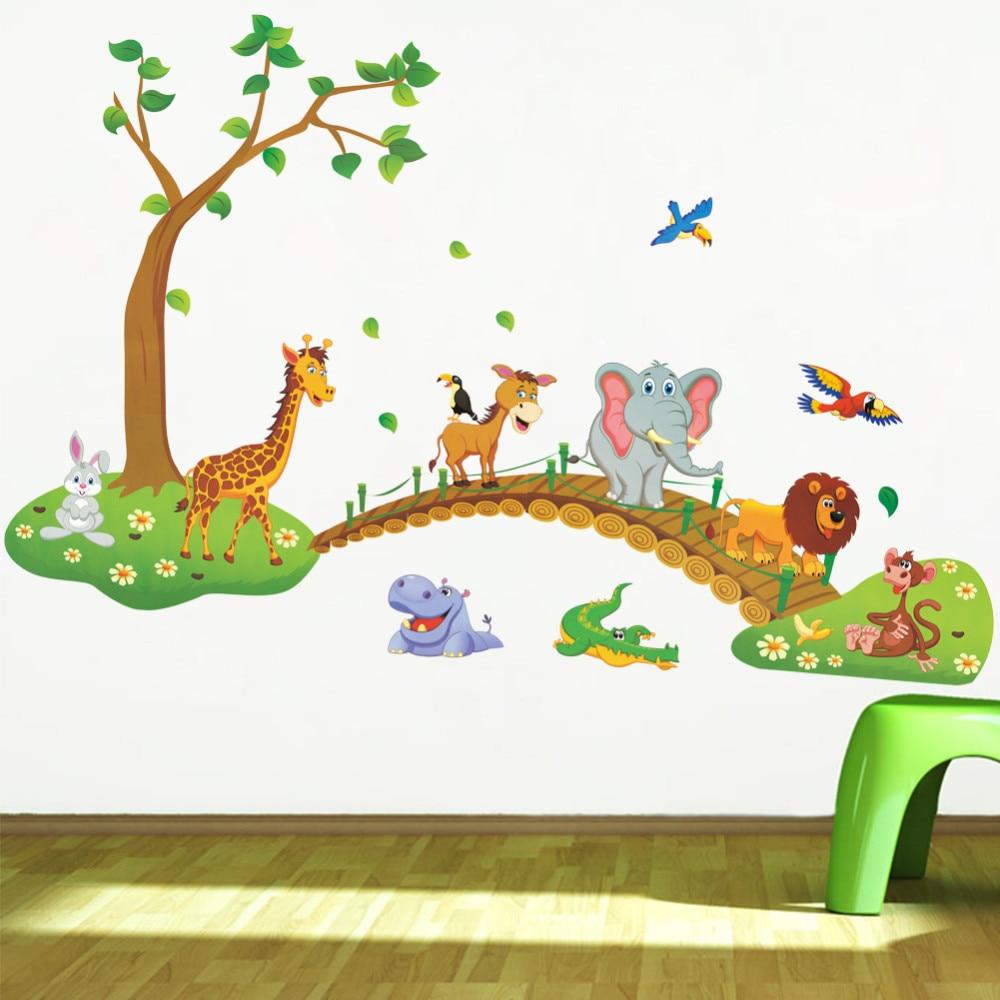 Sticker Mural Animaux De La Jungle Pour Chambre Enfant Bebe