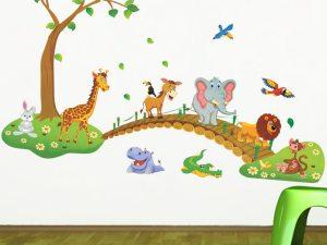 Sticker mural animaux de la jungle pour chambre enfant / bébé
