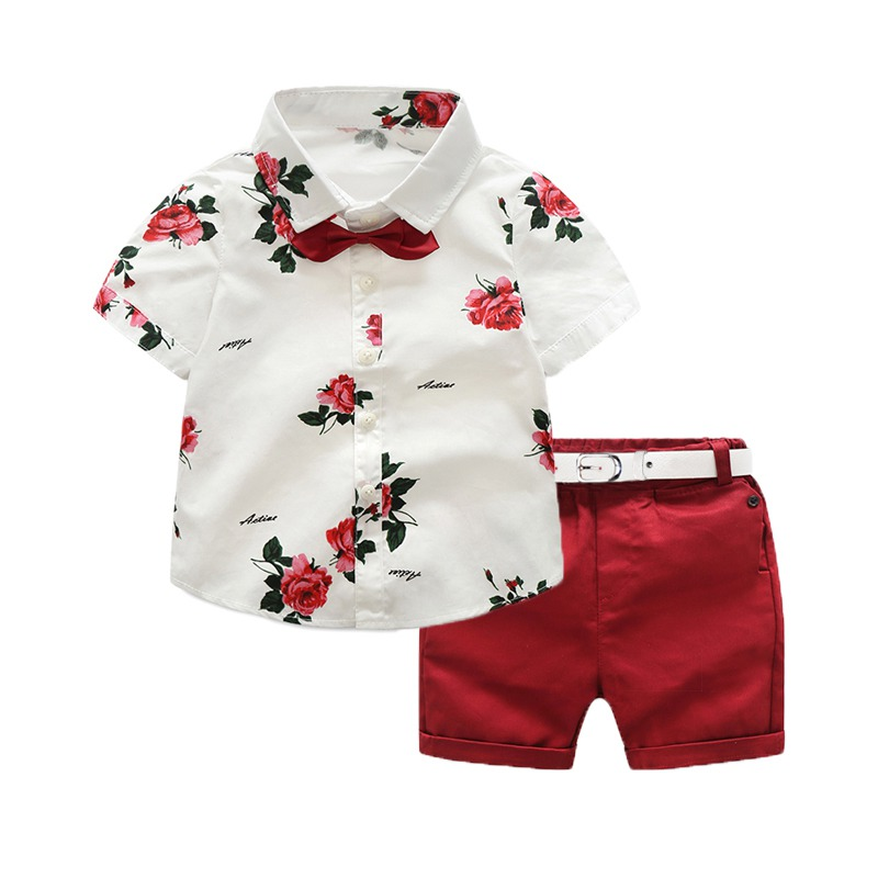 Ensemble garçon bermuda rouge et chemise blanche