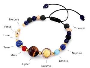 Les 8 planètes du système solaire en bracelet pour fille ou garçon