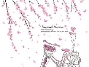 Sticker mural fleurs de cerisier et bicyclette