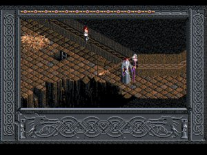 The Immortal: The wizard (player) makes his way through a dungeon. The floor has collapsed to the bottom of the screen and a light beam is eminating from the wall. To the left is a hole in the floor with ladders visible in the hole.