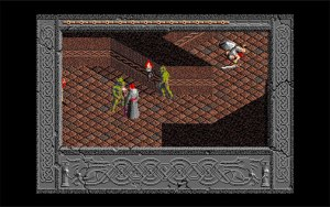 The Immortal: Two green goblins approach the wizard (player) for combat. This is taking place in a dungeon style corridor.