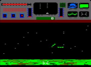 Star Raiders II: Top 3rd of the screen shows a starship status panel. The bottom two 3rds show a starfield with a section of land beneath it. Two green ships are flying in for an attack towards the middle of the starfield.