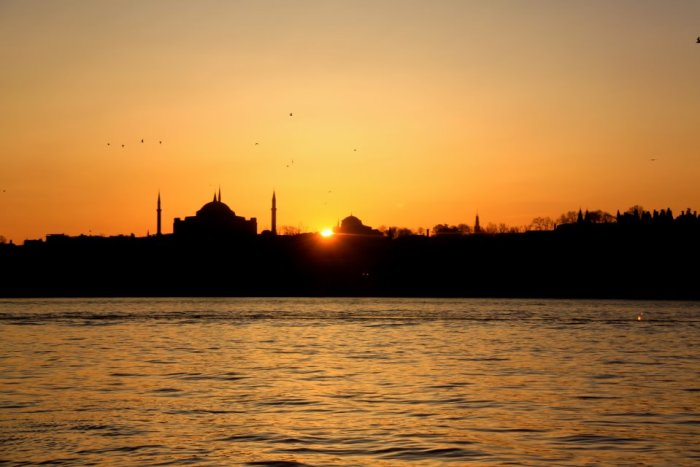 Istanbul mosques and river at sunset