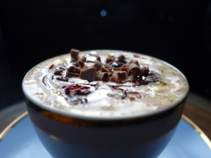 Black Forest Hot Chocolate - finish off with chocolate curls