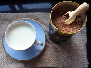 Black Forest Hot Chocolate - heat milk until steaming