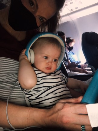 baby's first trip with headphones