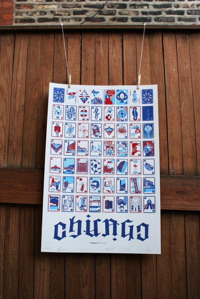 Chicago Playing Card Uncut Deck screenprinted poster