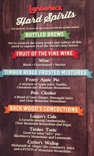 Dolly Parton's Lumberjack Adventure Drink Menu