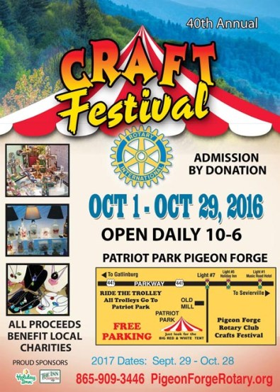 Pigeon Forge Rotary Club Craft Fair in October