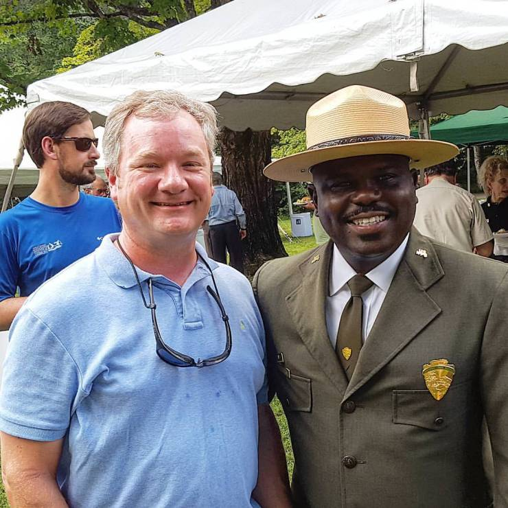 Great Smoky Mountain Superintendent, Cassius Cash, is always happy to meet park visitors.