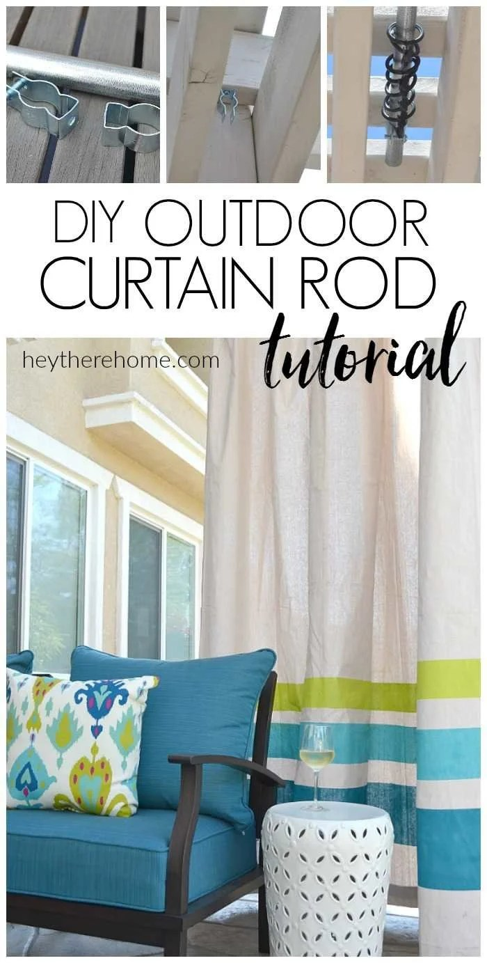 how to make an outdoor curtain rod for