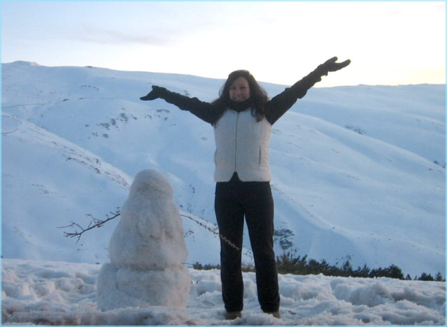 Snowman at summit of a peak in Grenada, Spain