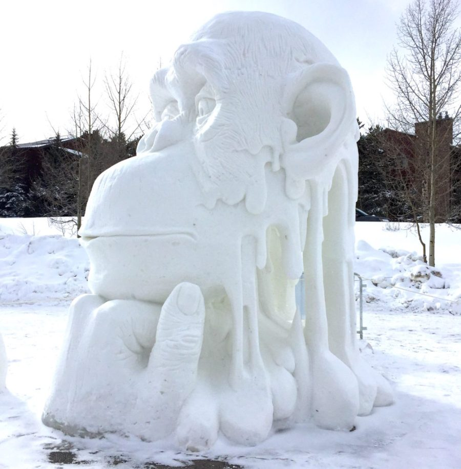 """Thinker"" by team China at Breckenridge snow sculpture contest 2018"