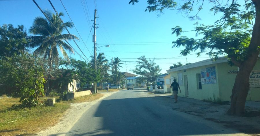 Driving into downtown George Town exumas