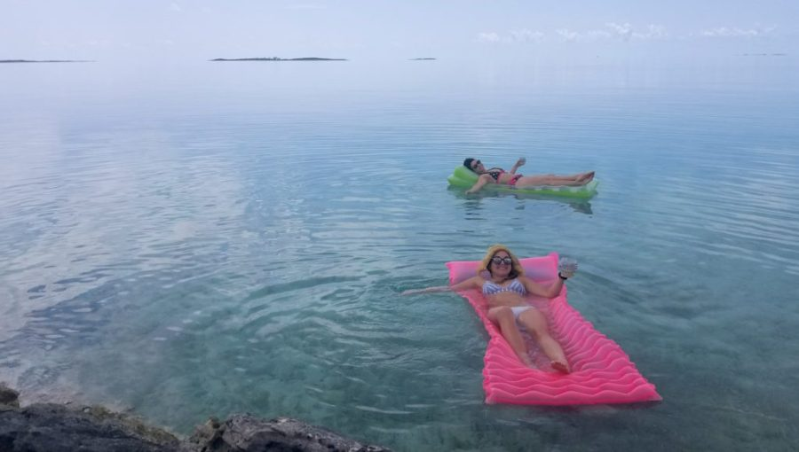 Lying on floaties outside the airbnb on bonefish flats exumas