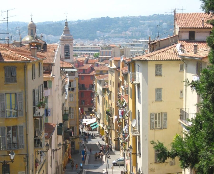 shopping street overhead view in Nice, France