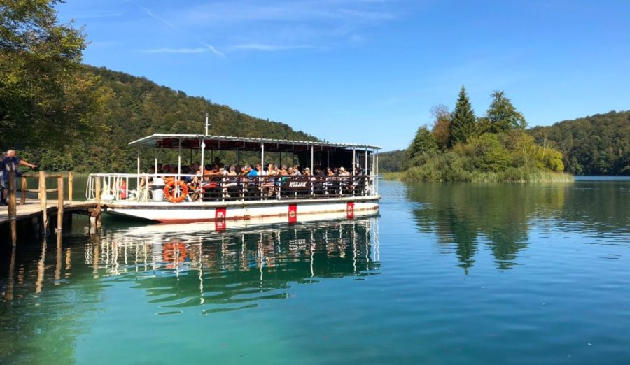 boat full of people at Plitvice Lakes National Park, Croatia