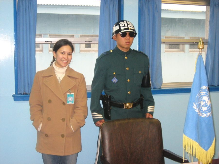 Standing in the North Korean side of the DMZ
