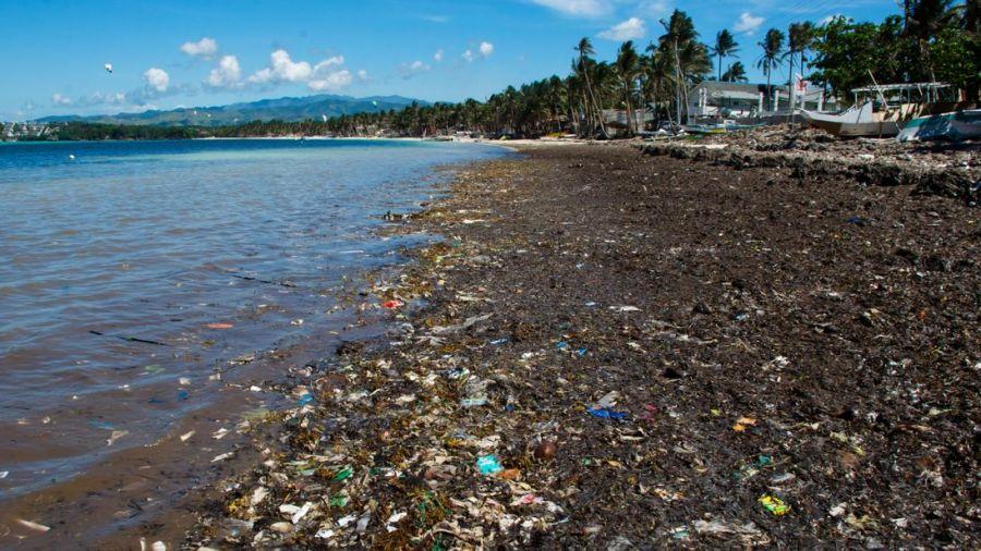 Boracay beach covered with trash