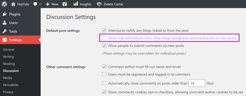 turn off all WordPress pingbacks with the click of a button