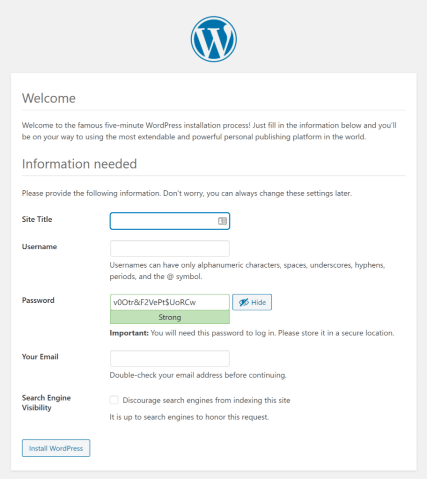 How to Install WordPress on Localhost with XAMPP - create your admin account for wordpress