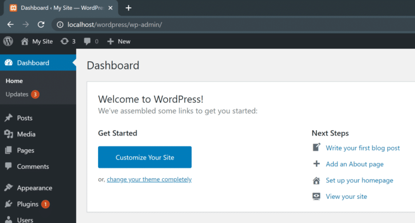 How to Install WordPress on Localhost with XAMPP - your new wordpress website is ready to go!