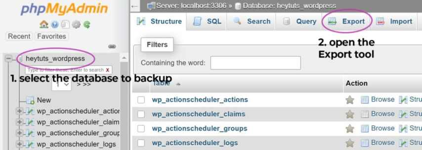 How to Migrate Your Website From One Server to Another - create a backup of your website's MySQL database