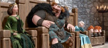 In this image provided by Disney, from left, Queen Elinor, voiced by Emma Thompson, King Fergus, voiced by Billy Connolly, Princess Merida, voiced by Kelly Macdonald, and triplets Princes Harris, Hubert and Hamish are shown in a scene from the animated feature 'Brave.'