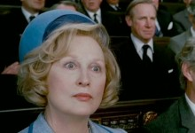 Meryl Streep as Maggie Thatcher looking startled, like a bird who has realised the limitations of its universe