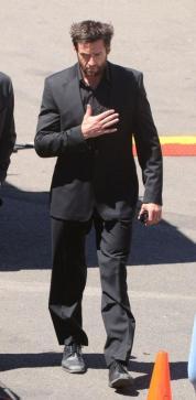 Hugh Jackman on set of The Wolverine
