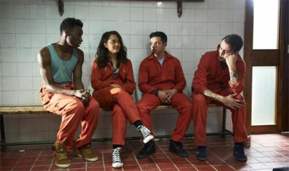Nathan Stewart-Jarrett, Karla Crome, Nathan McMullen and Joseph Gilgun in Misfits