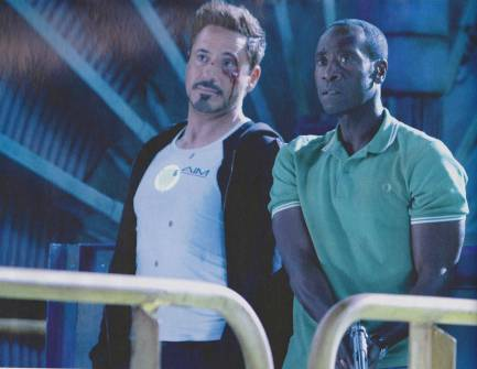 Robert Downey, Jr. and Don Cheadle in Iron Man 3