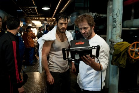 Henry Cavill and Zack Snyder on set of Man of Steel