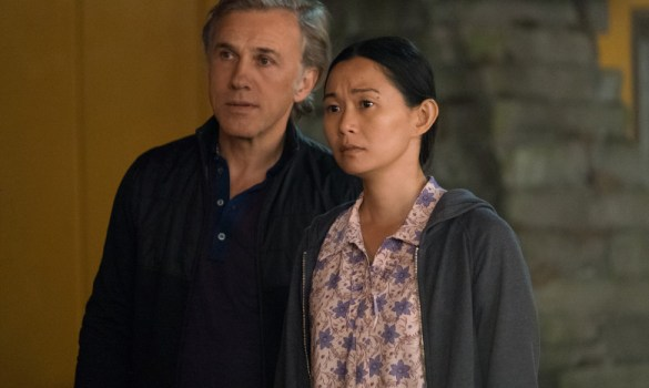 Hong Chau and Christoph Waltz in Downsizing from Paramount Pictures.