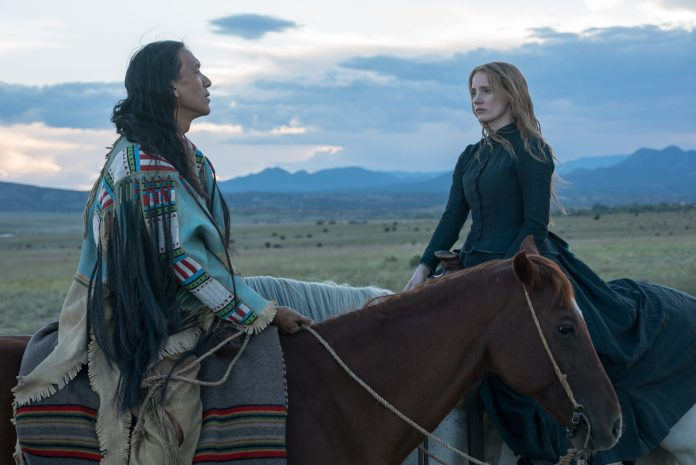 Michael Greyeyes and Jessica Chastain. Photo by Richard Foreman. Courtesy of A24.