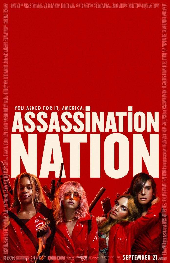 Assassination Nation Official Poster. In US theatres 21st September 2018, in UK cinemas 23rd November.