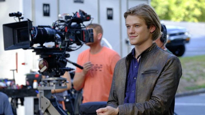 Lucas Till on the set of 'MacGyver'.