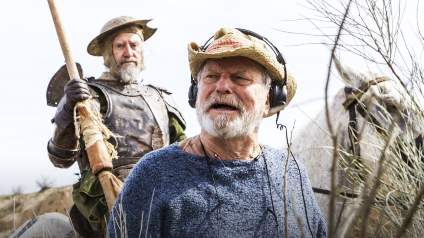 terry gilliam the man who don quixote on set