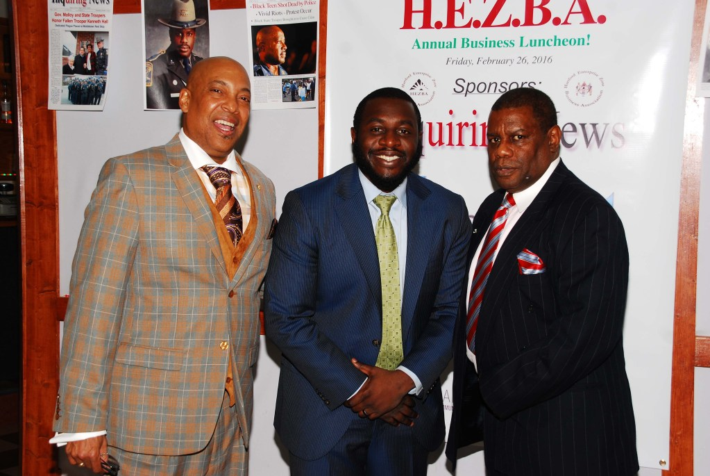 HEZBA Presient, Reggie Hales. guest speaker OC Issac, VP with VEDC in NY. Photo by Bill Clark