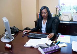 Stephanie Curette reading law book