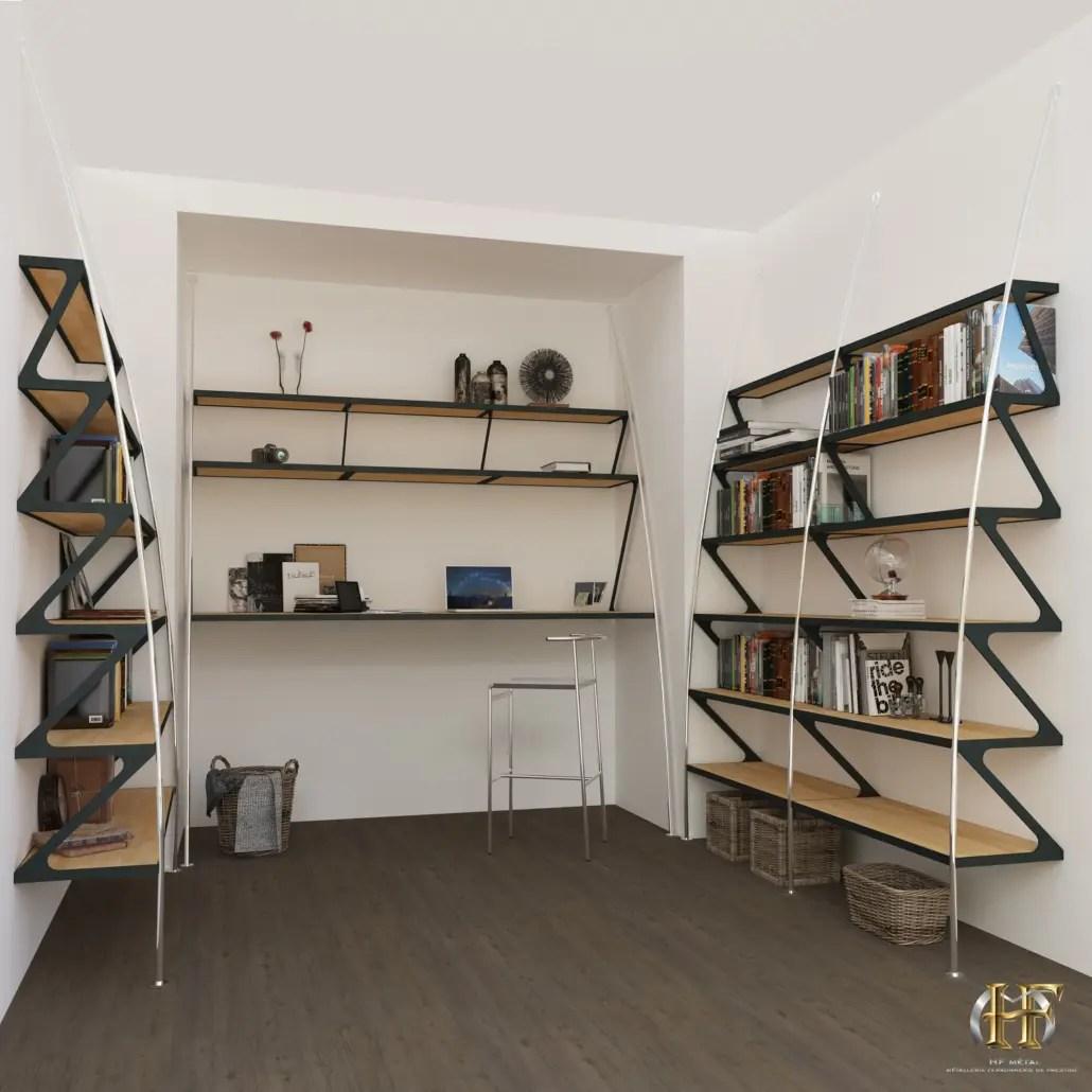 bibliotheque en fer metal ou acier