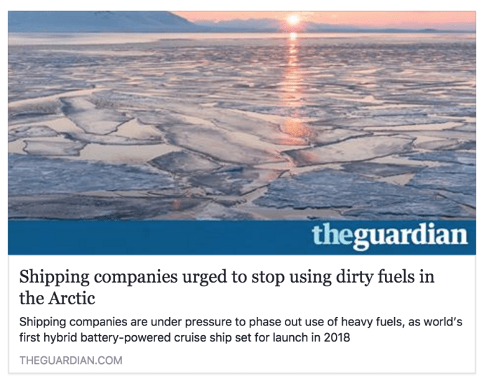 Shipping companies urged to stop using dirty fuels in the Arctic