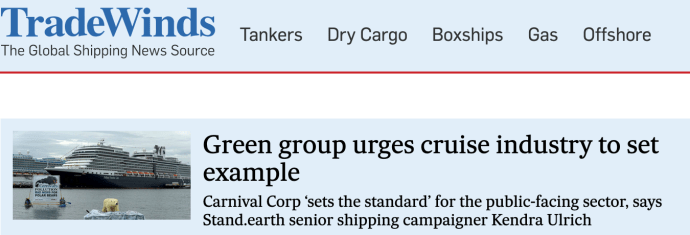 Green group urges cruise industry to set example
