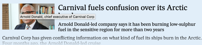 Carnival fuels confusion over its Arctic bunkers