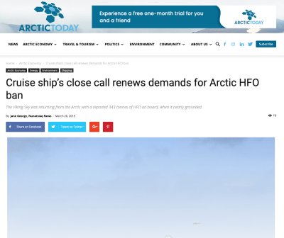 Cruise ship's close call renews demands for Arctic HFO ban