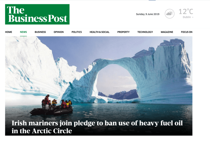 """Irish mariners join pledge to ban use of heavy fuel oil in the Arctic Circle """
