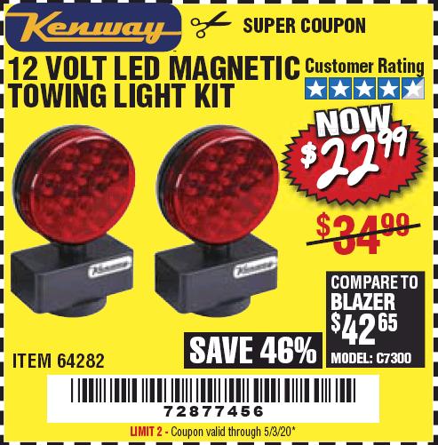 12 volt led magnetic towing light kit